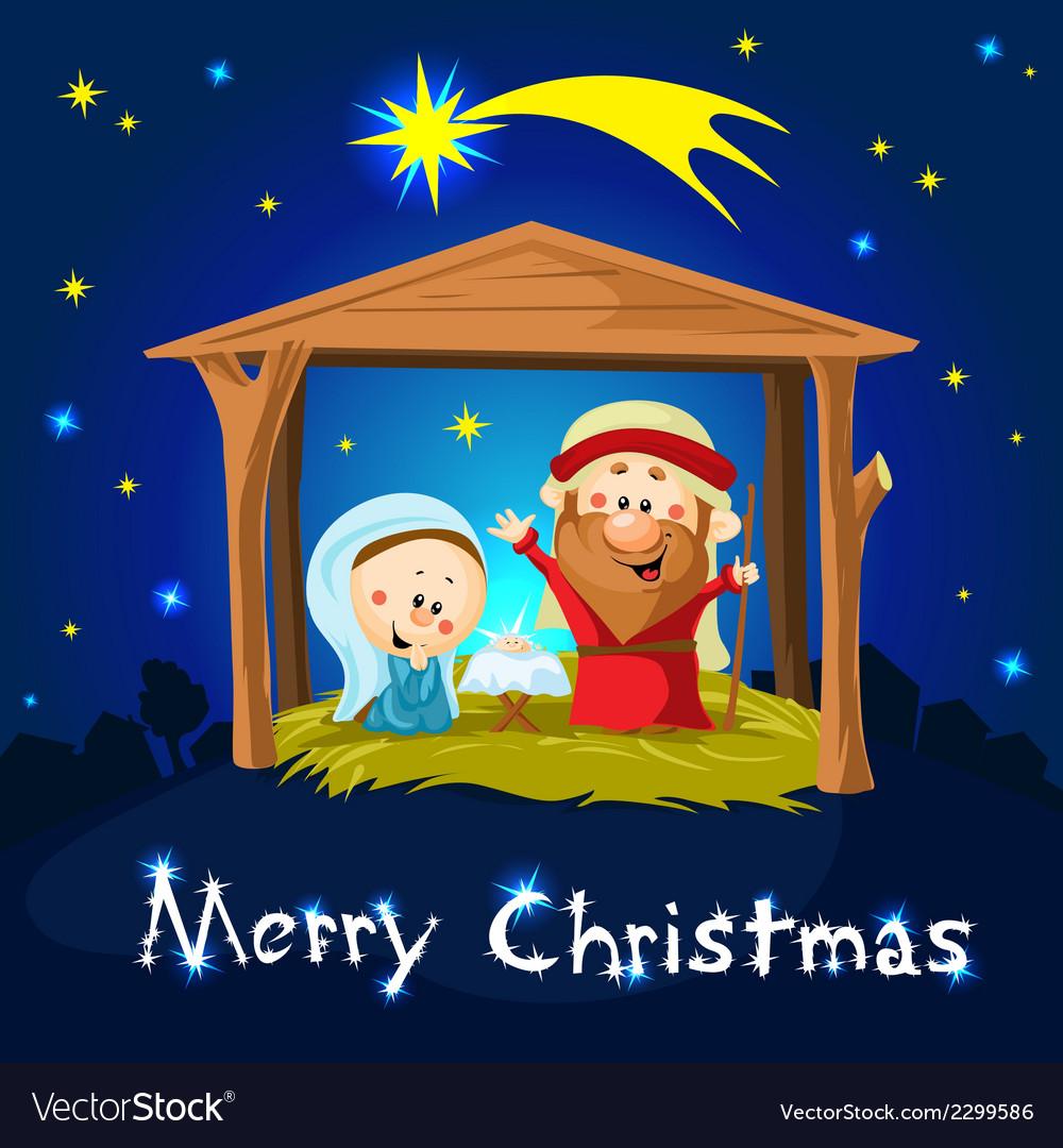 Merry xmas nativity in bethlehem - christmas vector | Price: 1 Credit (USD $1)