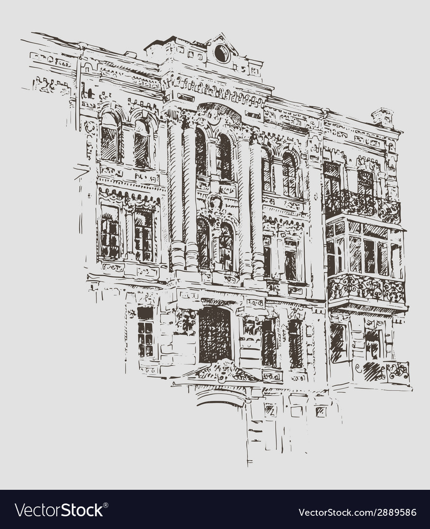 Sketch drawing of kiev historical building ukraine vector | Price: 1 Credit (USD $1)
