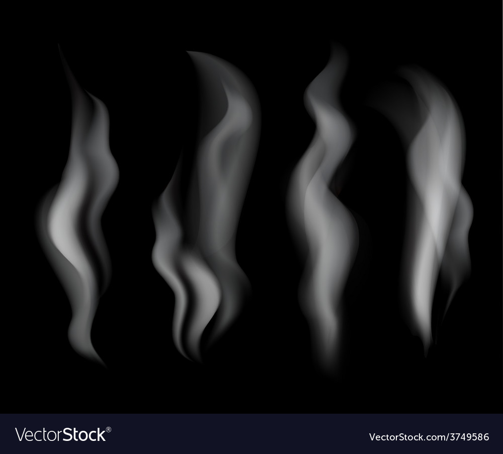 Smoke set on black background vector | Price: 1 Credit (USD $1)