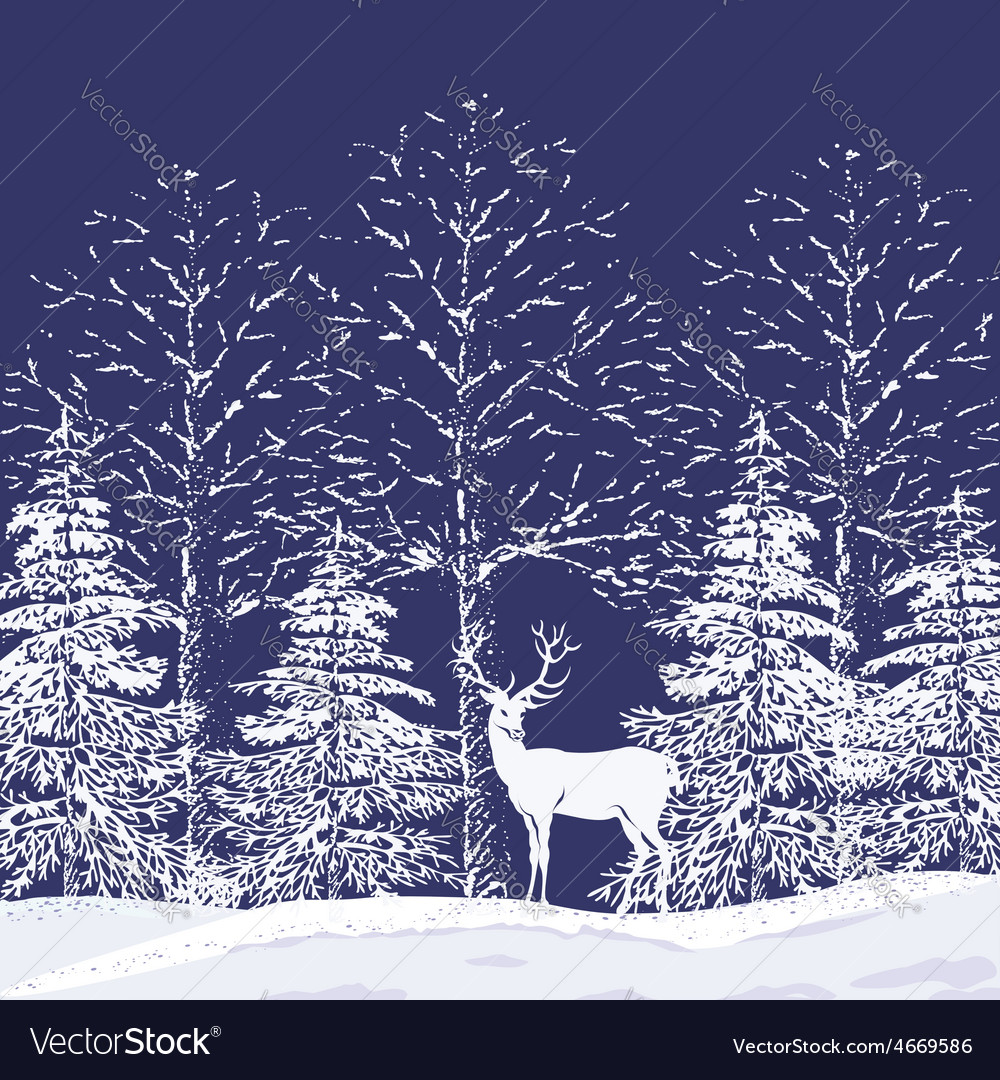 Snowy forest vector | Price: 1 Credit (USD $1)