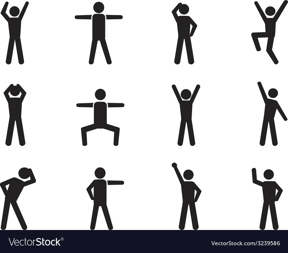 Stick figure posture icons vector | Price: 1 Credit (USD $1)