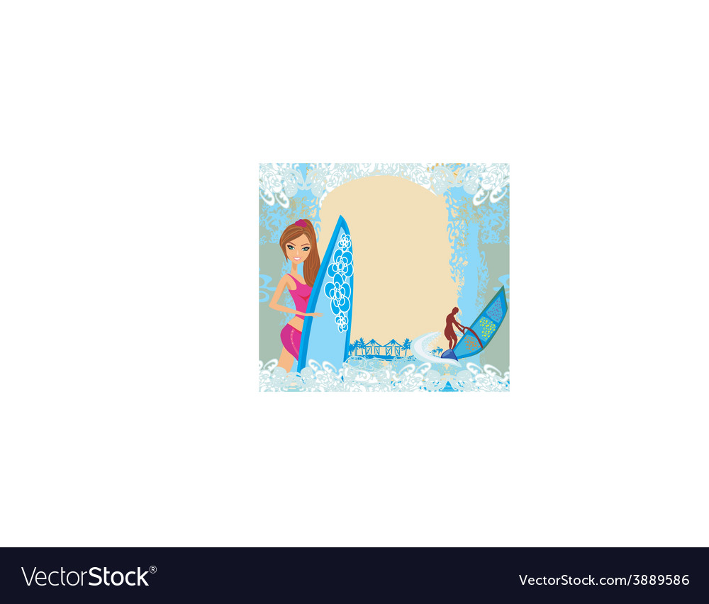 Windsurfer on the wave - abstract frame vector | Price: 1 Credit (USD $1)