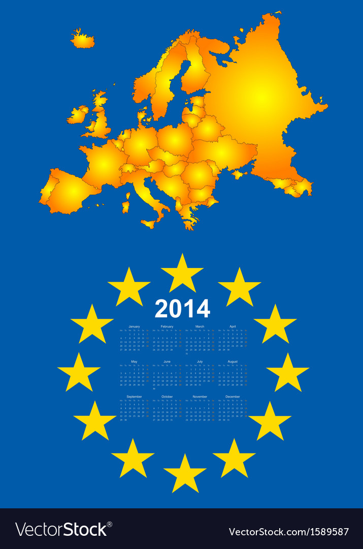 2014 calendar with europe map vector | Price: 1 Credit (USD $1)