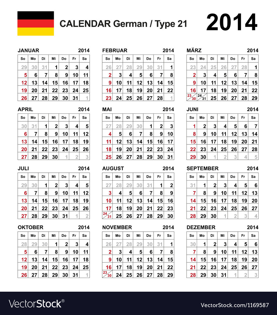 Calendar 2014 german type 21 vector | Price: 1 Credit (USD $1)