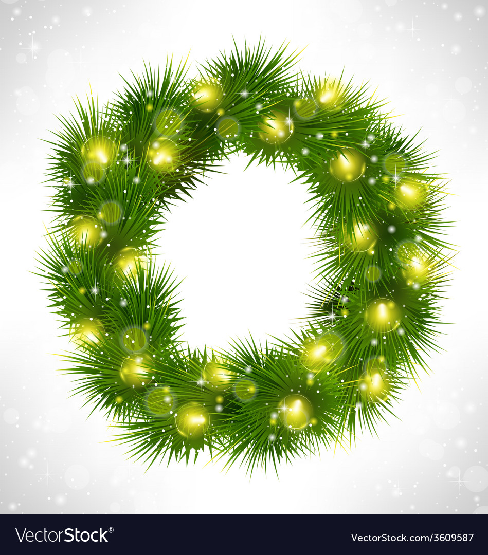 Christmas wreath with yellow glassy led christmas vector | Price: 1 Credit (USD $1)