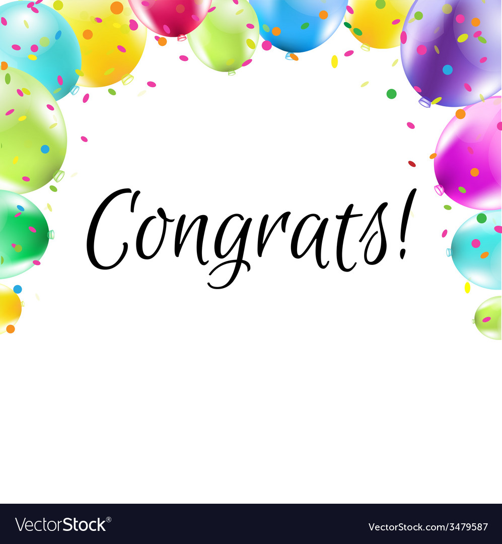 Color congrats card vector | Price: 1 Credit (USD $1)