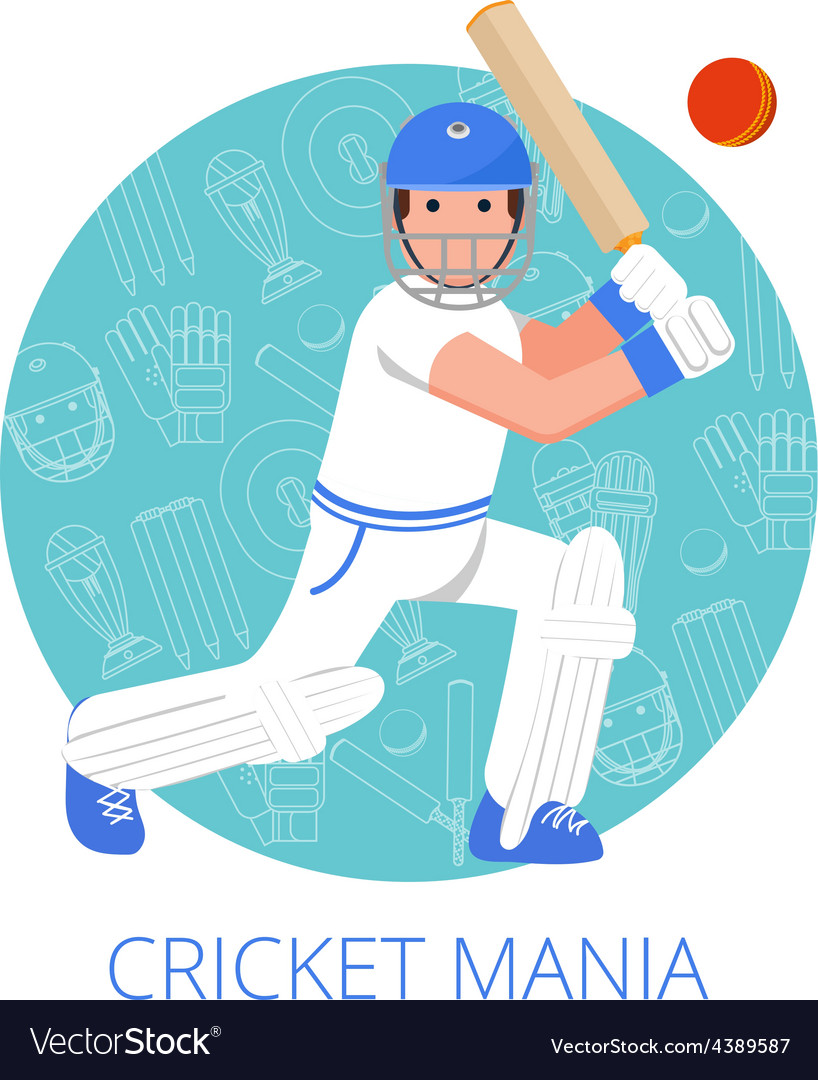Cricket player icon poster print flat vector | Price: 1 Credit (USD $1)