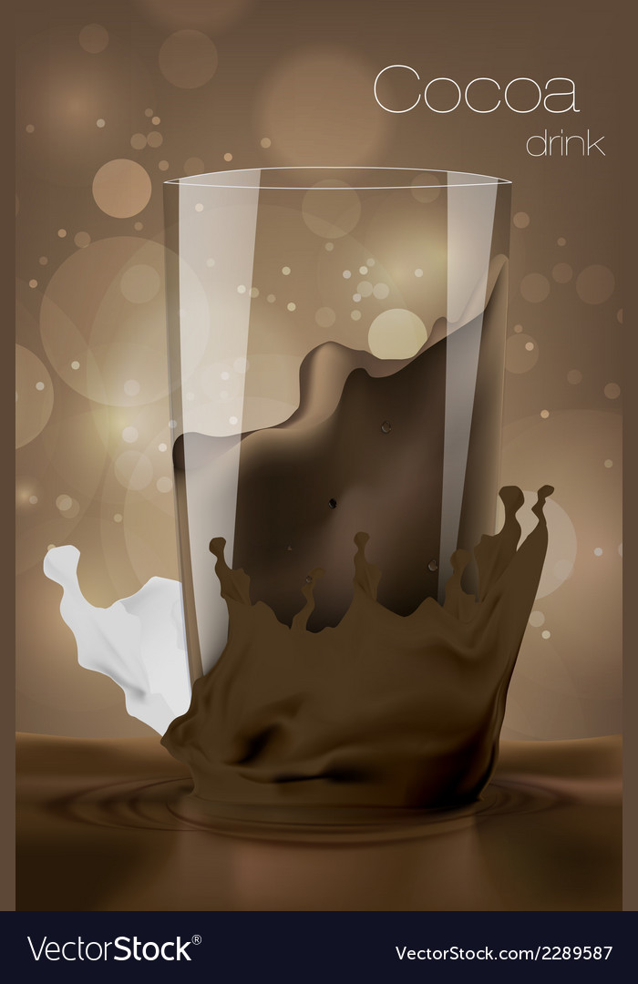 Glass of cocoa with milk in the coffee background vector | Price: 1 Credit (USD $1)