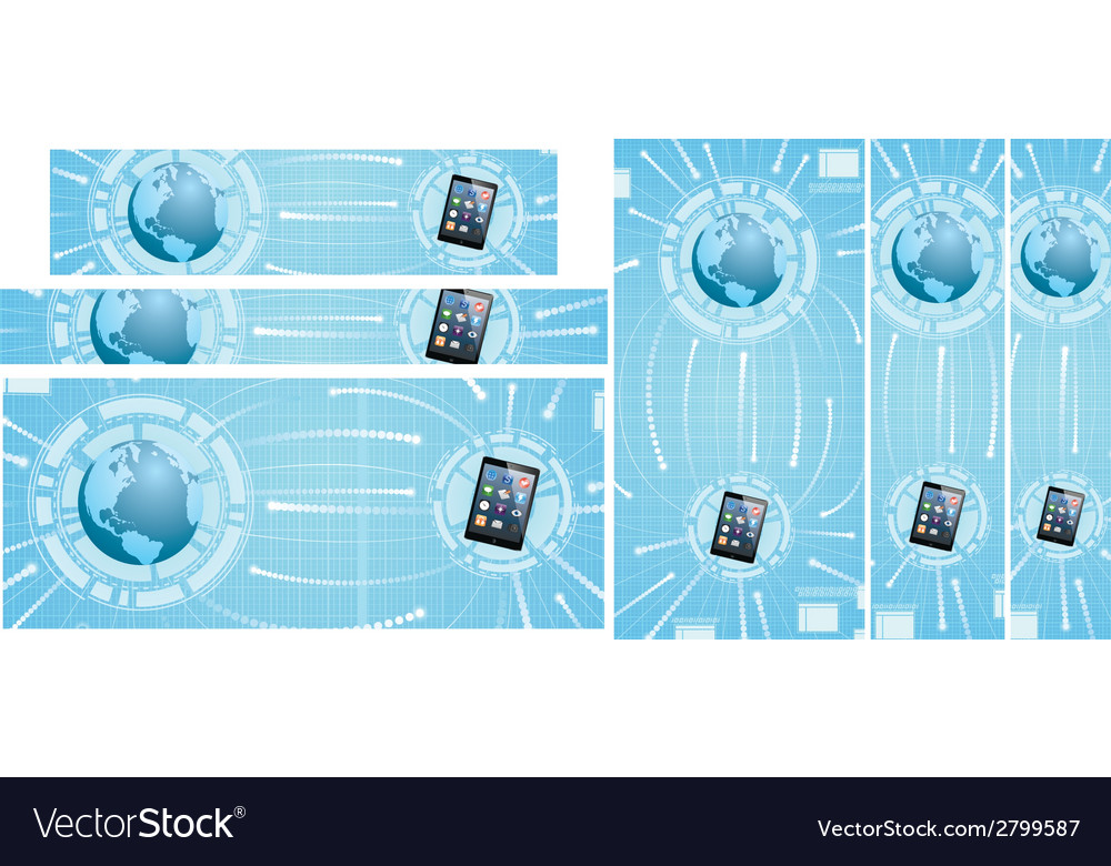 Global communications banners vector | Price: 1 Credit (USD $1)