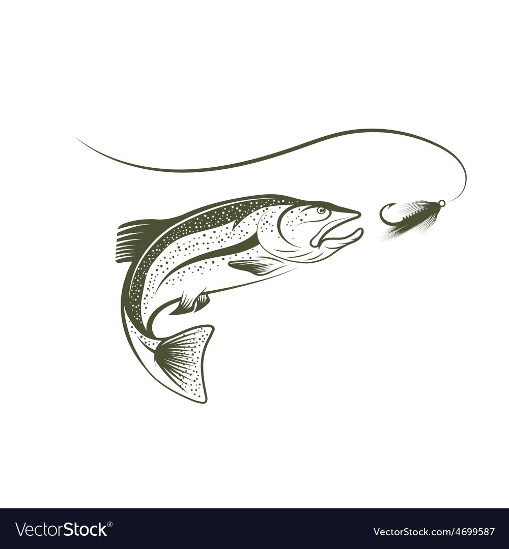 Jumping salmon and lure vector | Price: 1 Credit (USD $1)