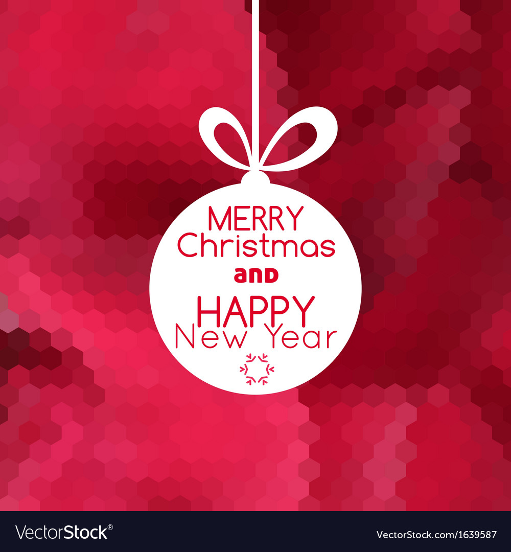 Merry christmas ball card abstract red background vector | Price: 1 Credit (USD $1)