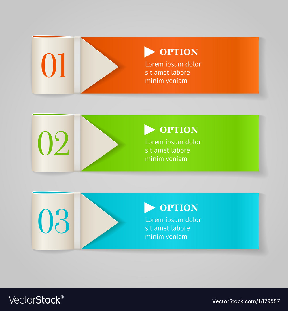 Modern numbered options banners vector | Price: 1 Credit (USD $1)