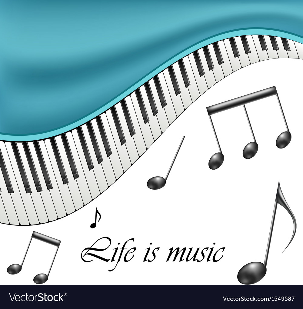 Music text frame with notes and piano keys vector | Price: 1 Credit (USD $1)