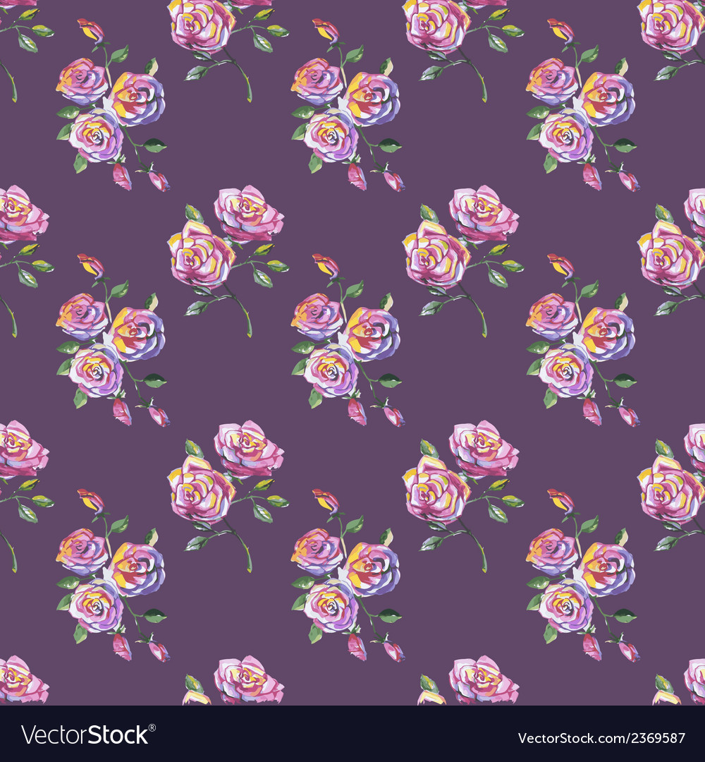 Seamless pattern with beautiful roses vector | Price: 1 Credit (USD $1)