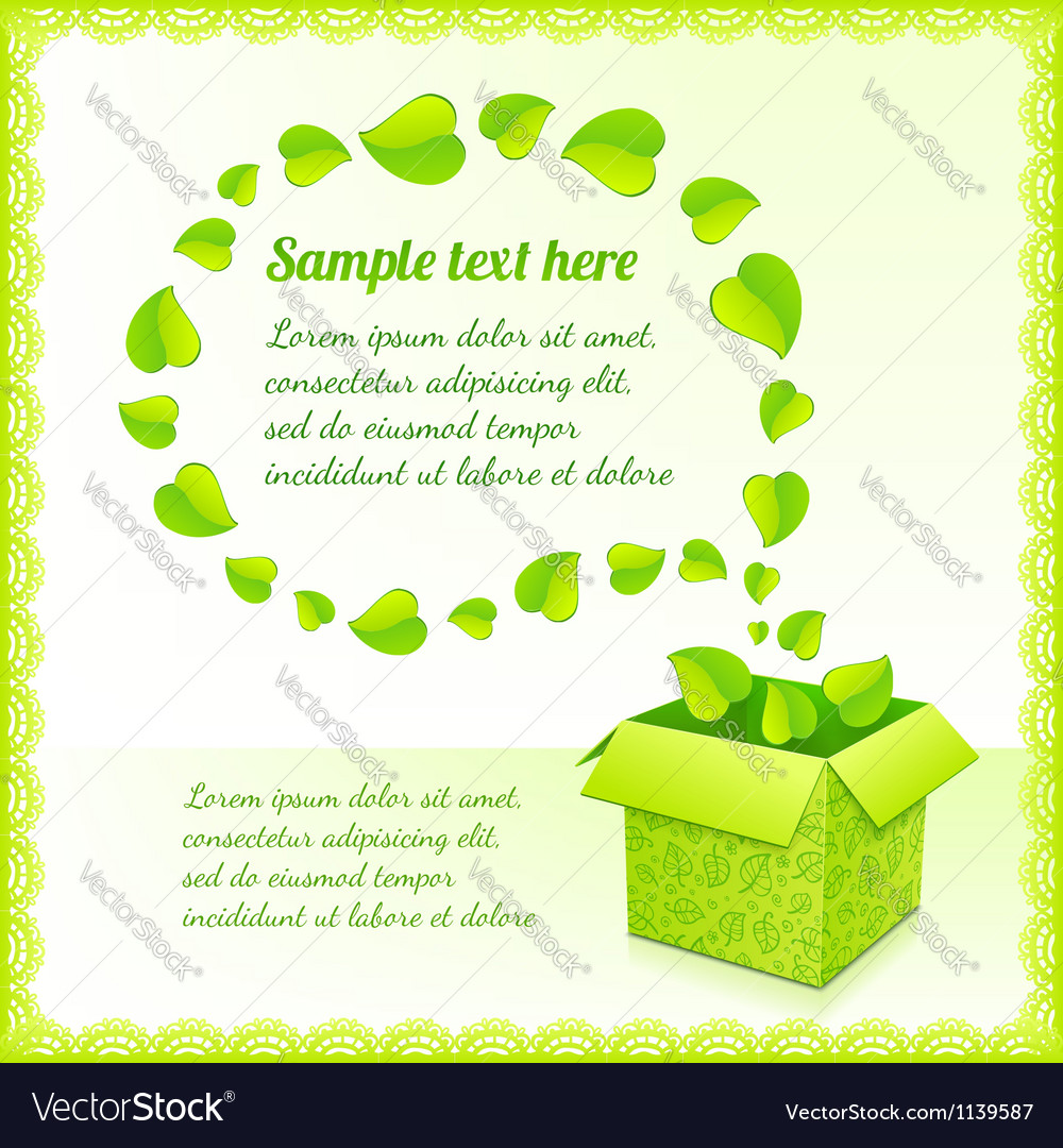 Text bubble from foliage with green box of leaves vector | Price: 1 Credit (USD $1)