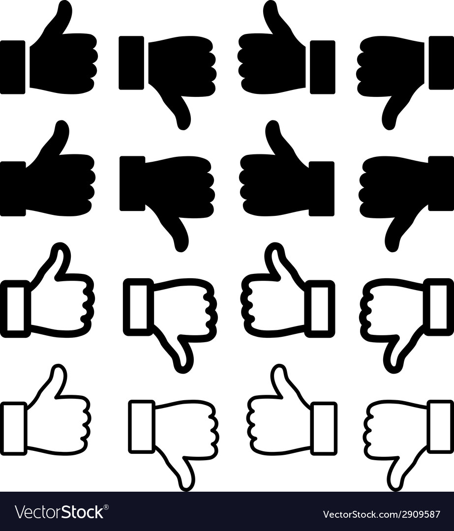 Thumbs up set vector | Price: 1 Credit (USD $1)