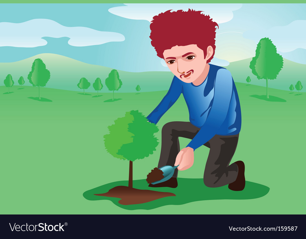 Tree planter vector | Price: 1 Credit (USD $1)