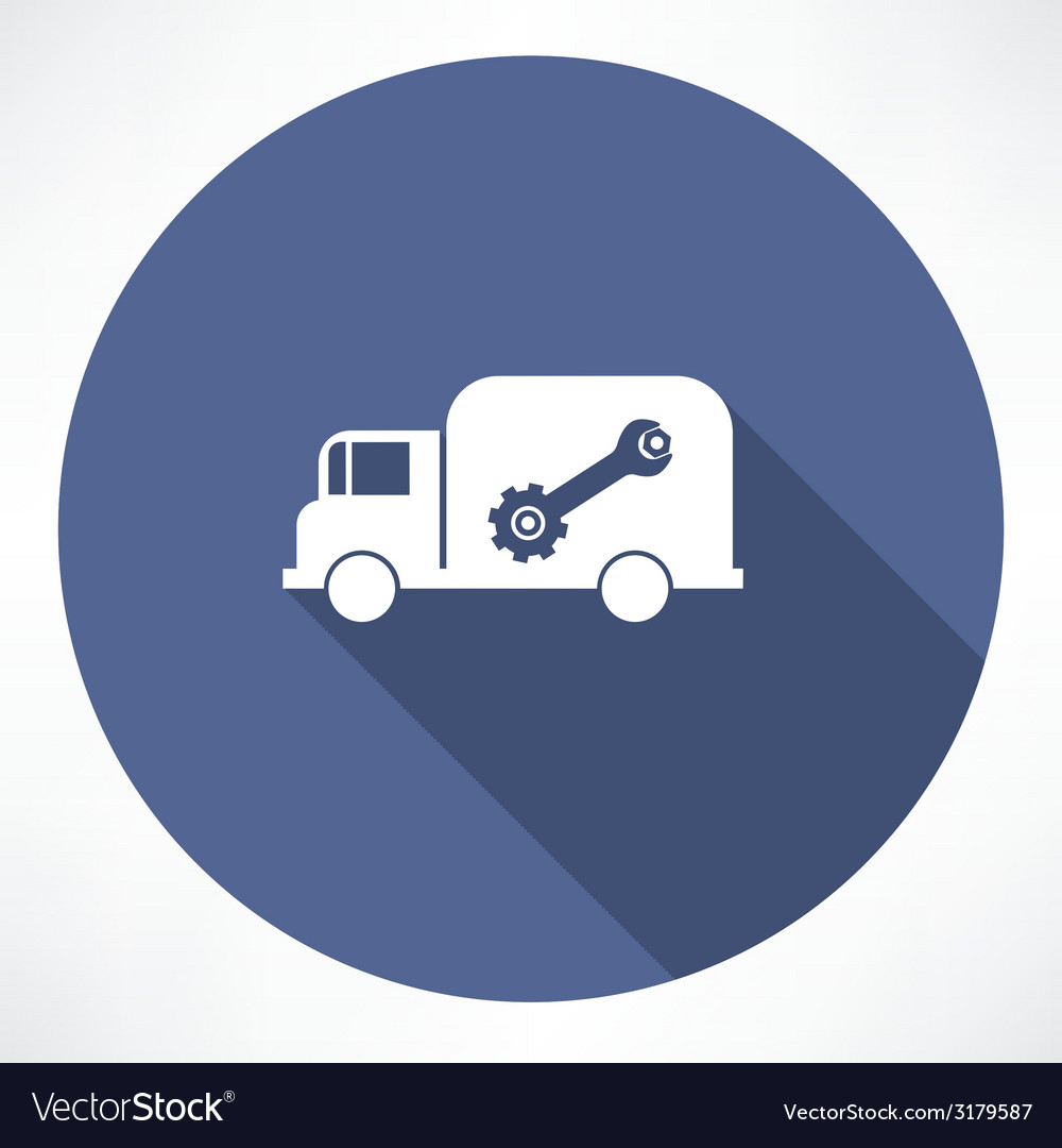 Truck with wrench and nut icon vector | Price: 1 Credit (USD $1)
