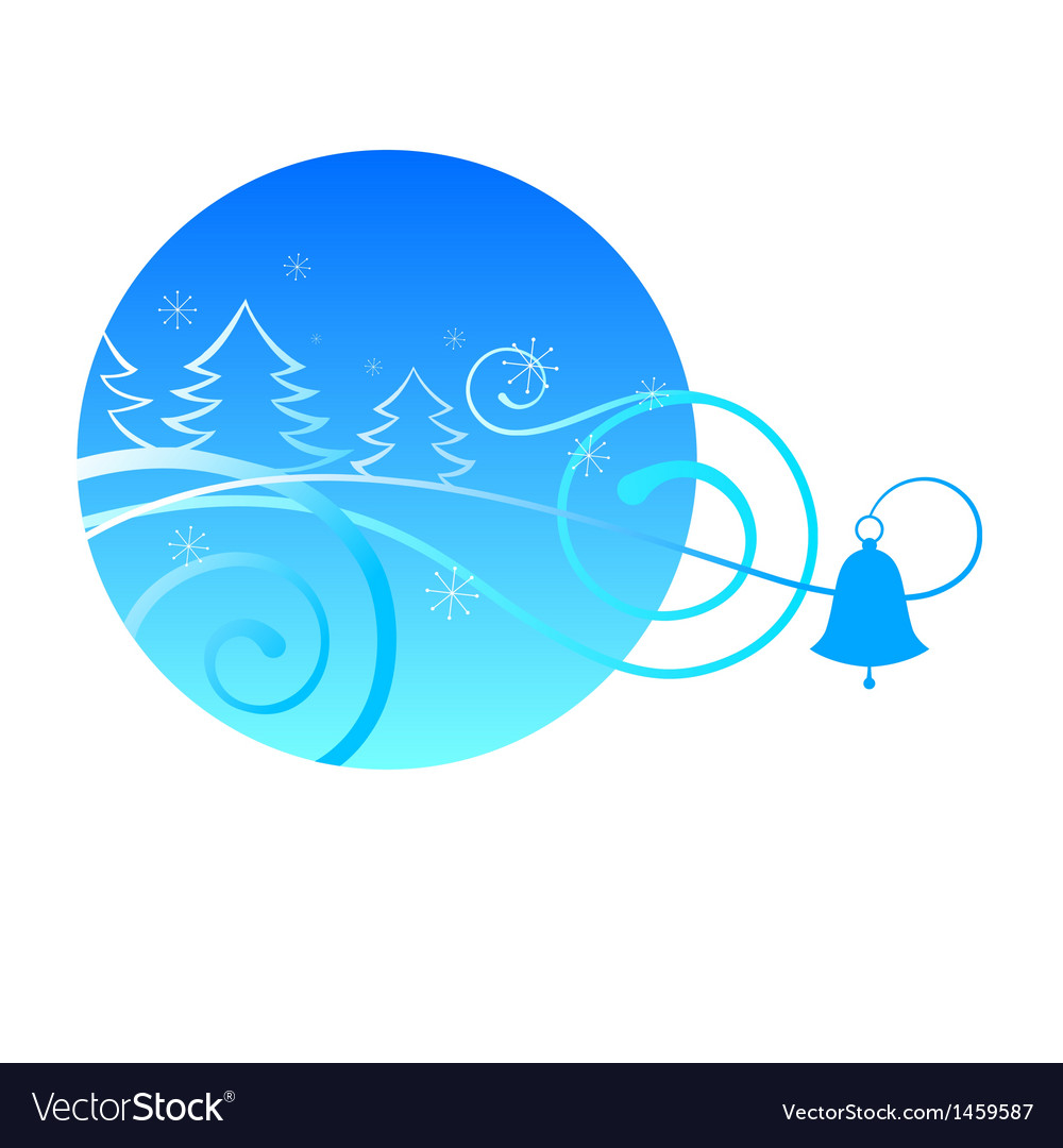 Winter card with spruce and blue bells vector | Price: 1 Credit (USD $1)