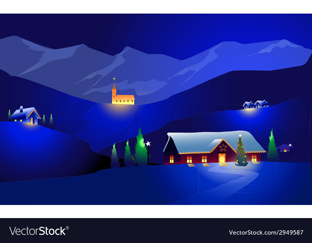 Winter landscape and happy chrirstmas vector | Price: 1 Credit (USD $1)