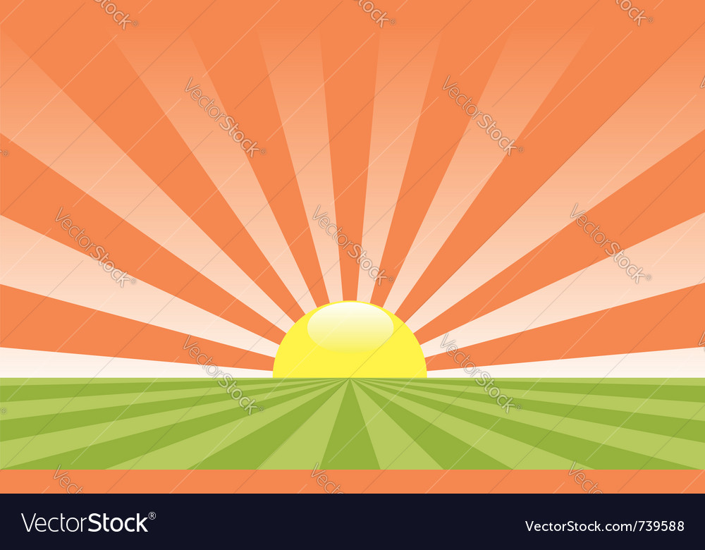 Abstract rural landscape with rising sun vector | Price: 1 Credit (USD $1)