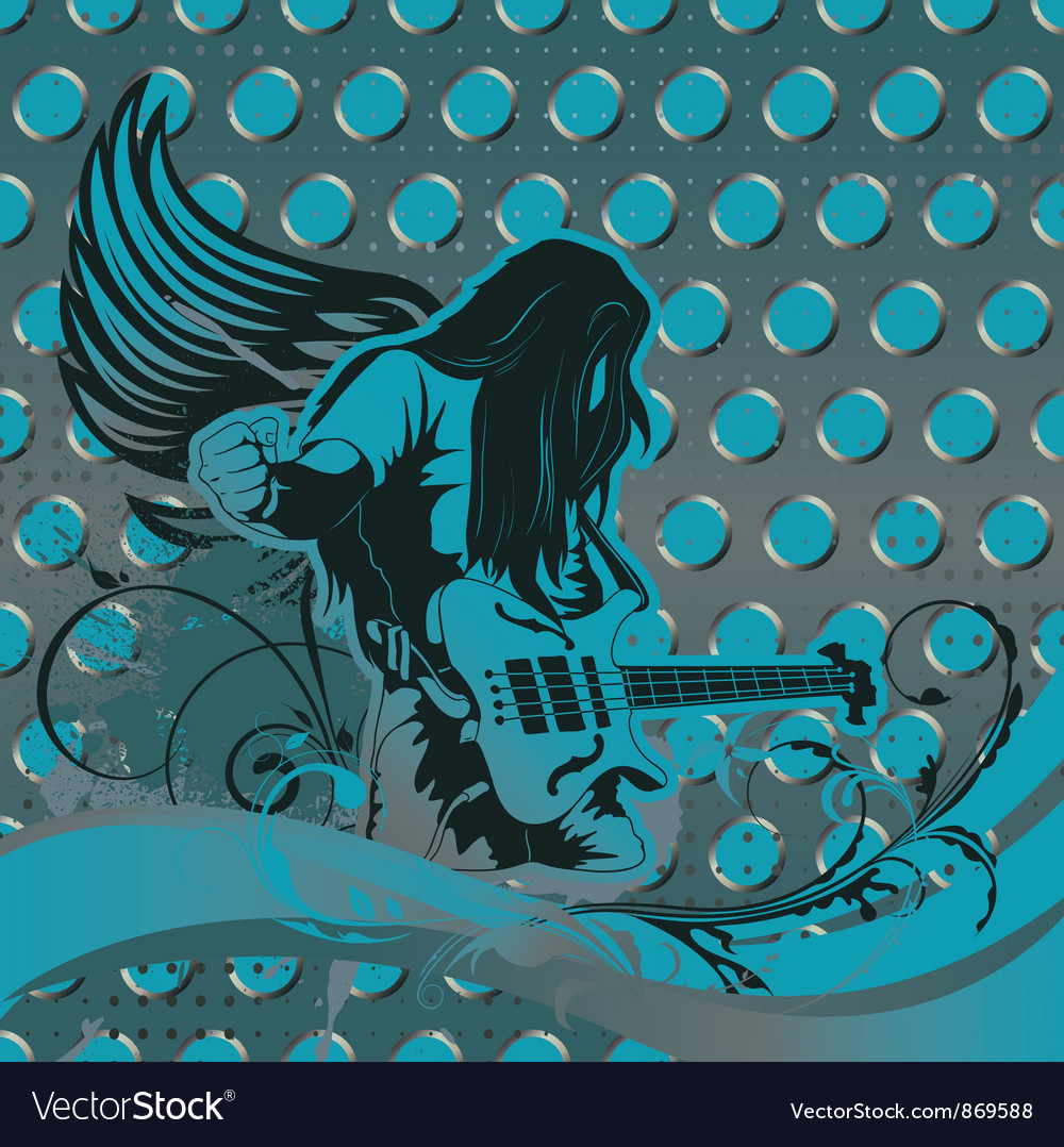 Concert poster with guitar player vector | Price: 1 Credit (USD $1)