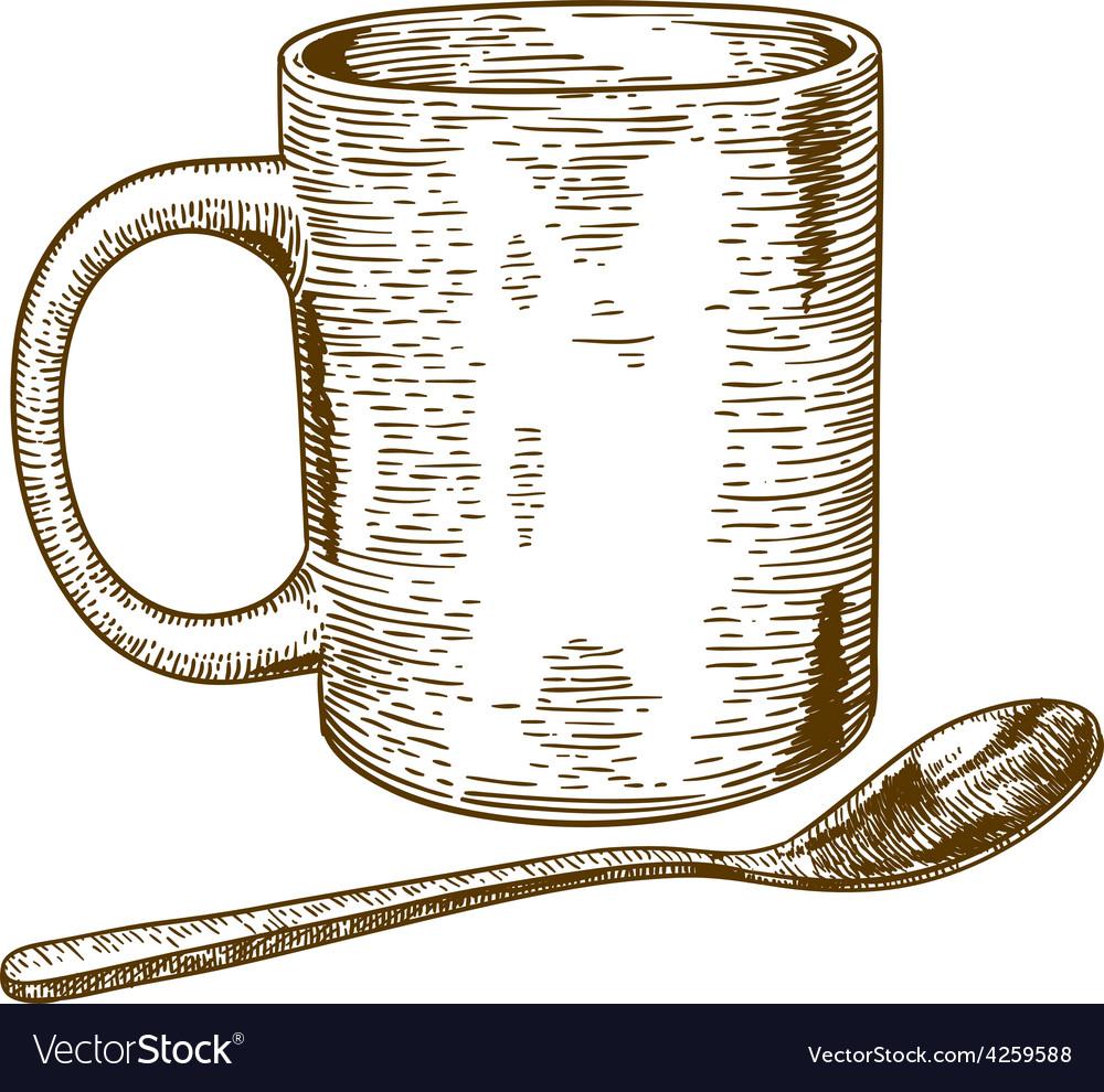 Engraving mug and spoon vector | Price: 1 Credit (USD $1)