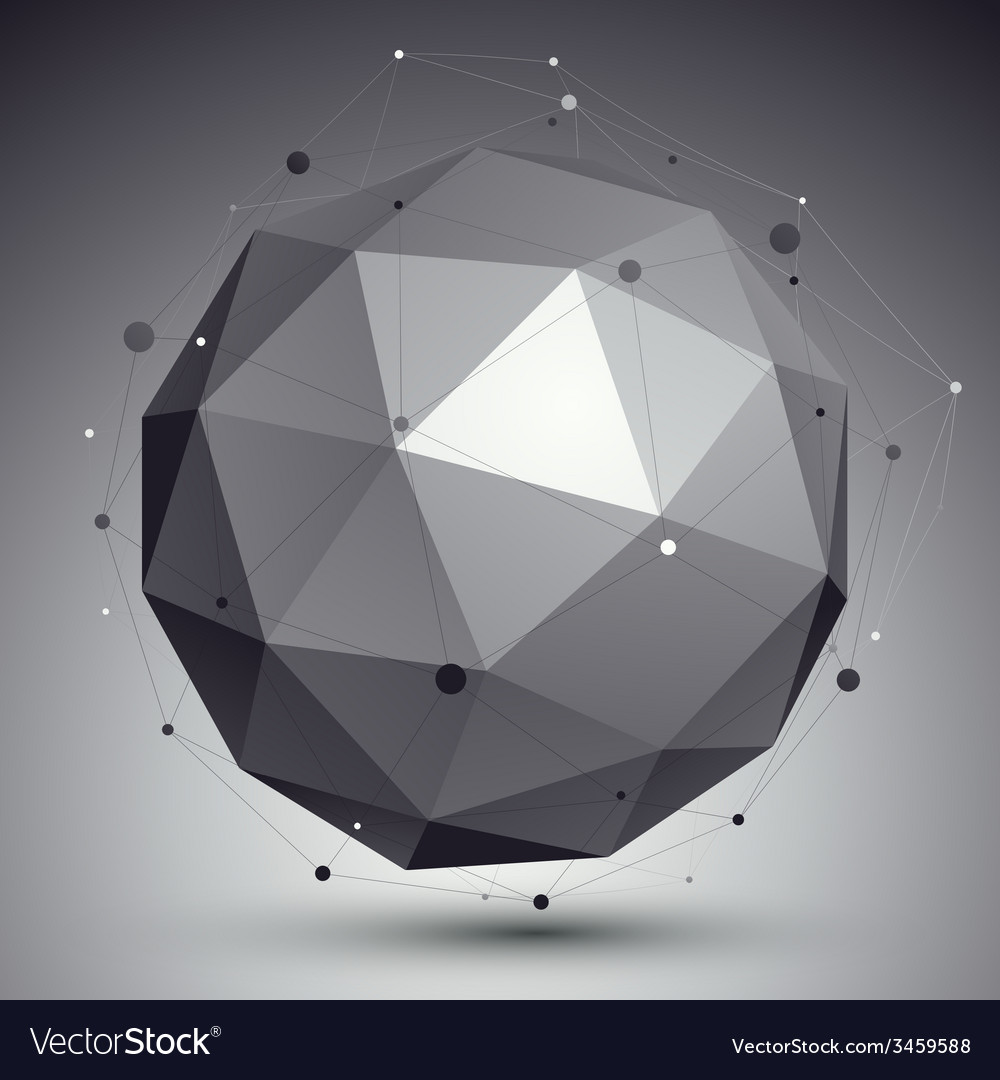 Geometric monochrome spherical structure with wire vector | Price: 1 Credit (USD $1)