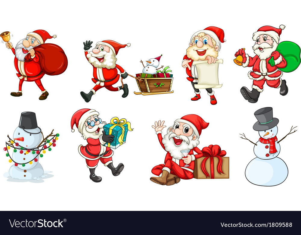 Santa claus and the snowmen vector | Price: 1 Credit (USD $1)