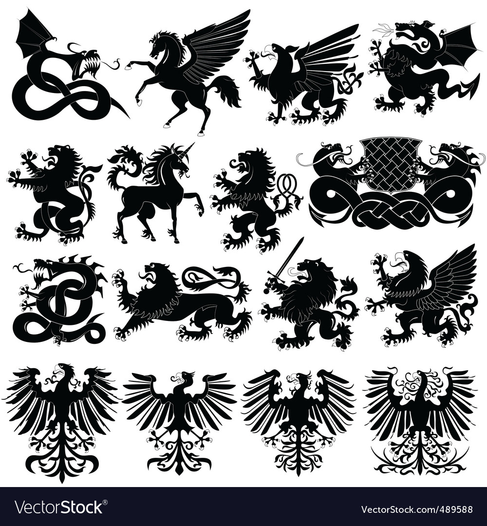 Set of heraldic animals vector