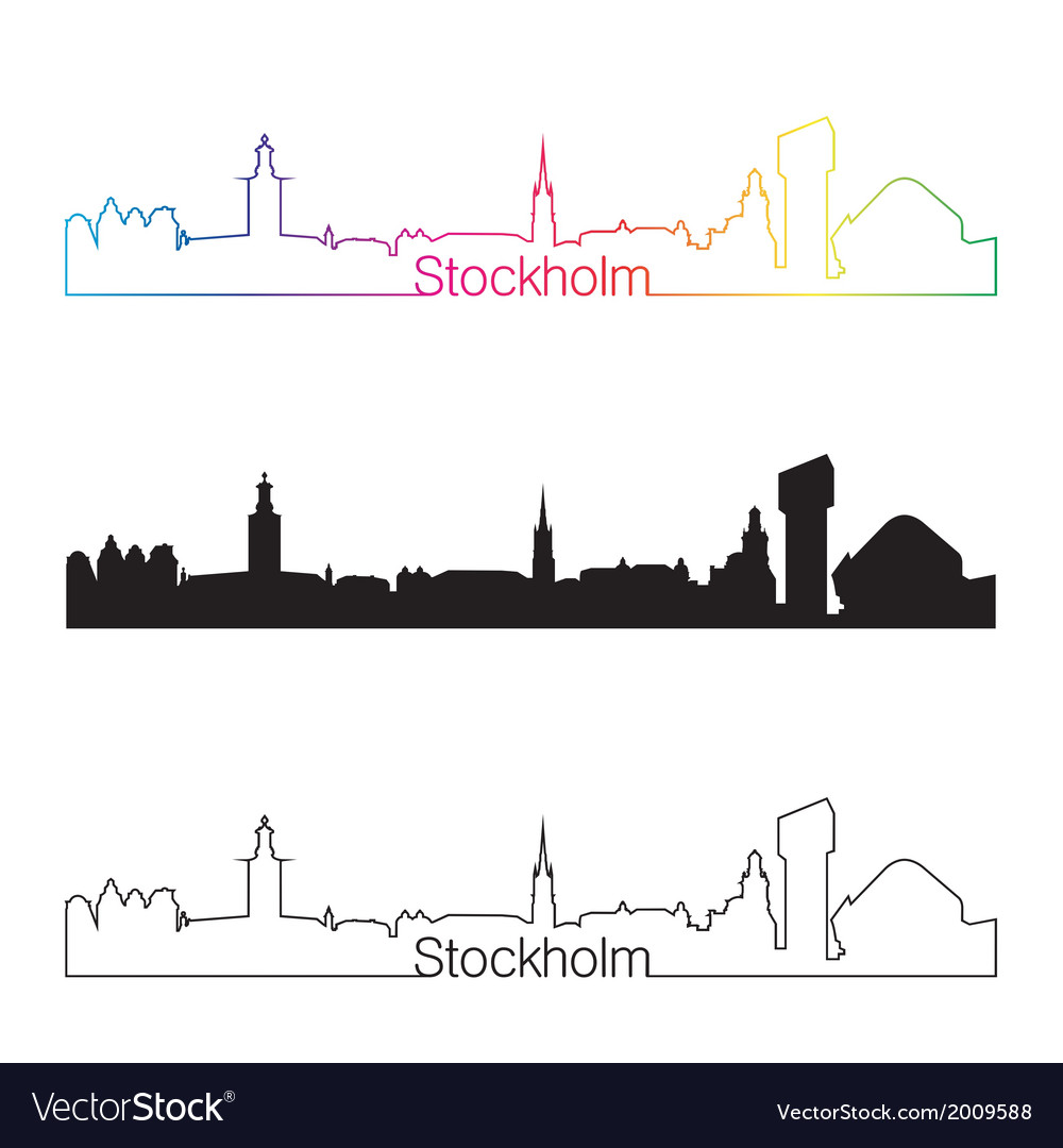 Stockholm skyline linear style with rainbow vector | Price: 1 Credit (USD $1)