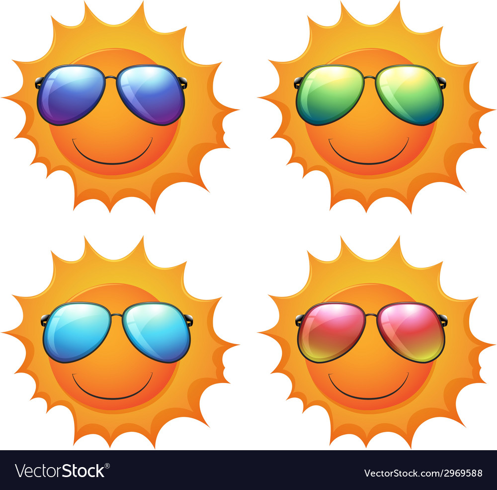 Sun with shades vector | Price: 1 Credit (USD $1)