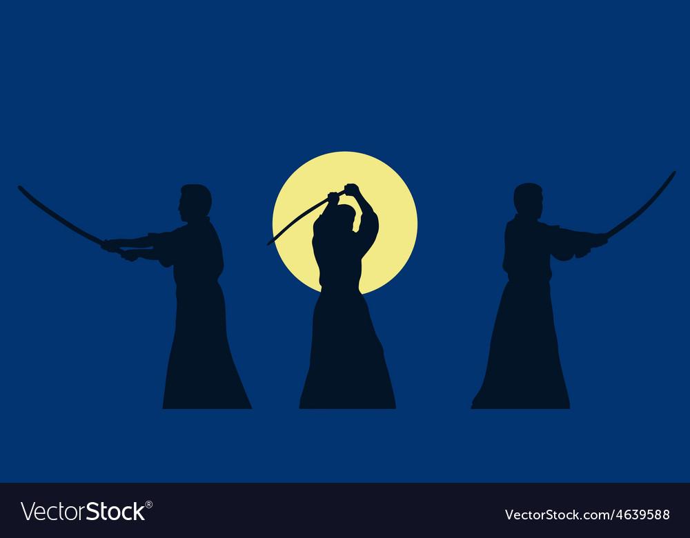 Three men show aikido against a dark background vector | Price: 1 Credit (USD $1)