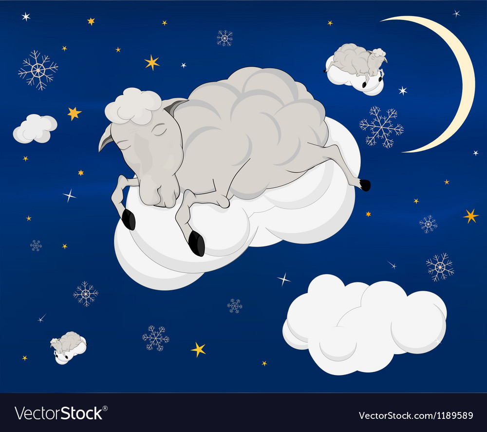 A lamb on a cloud vector | Price: 1 Credit (USD $1)