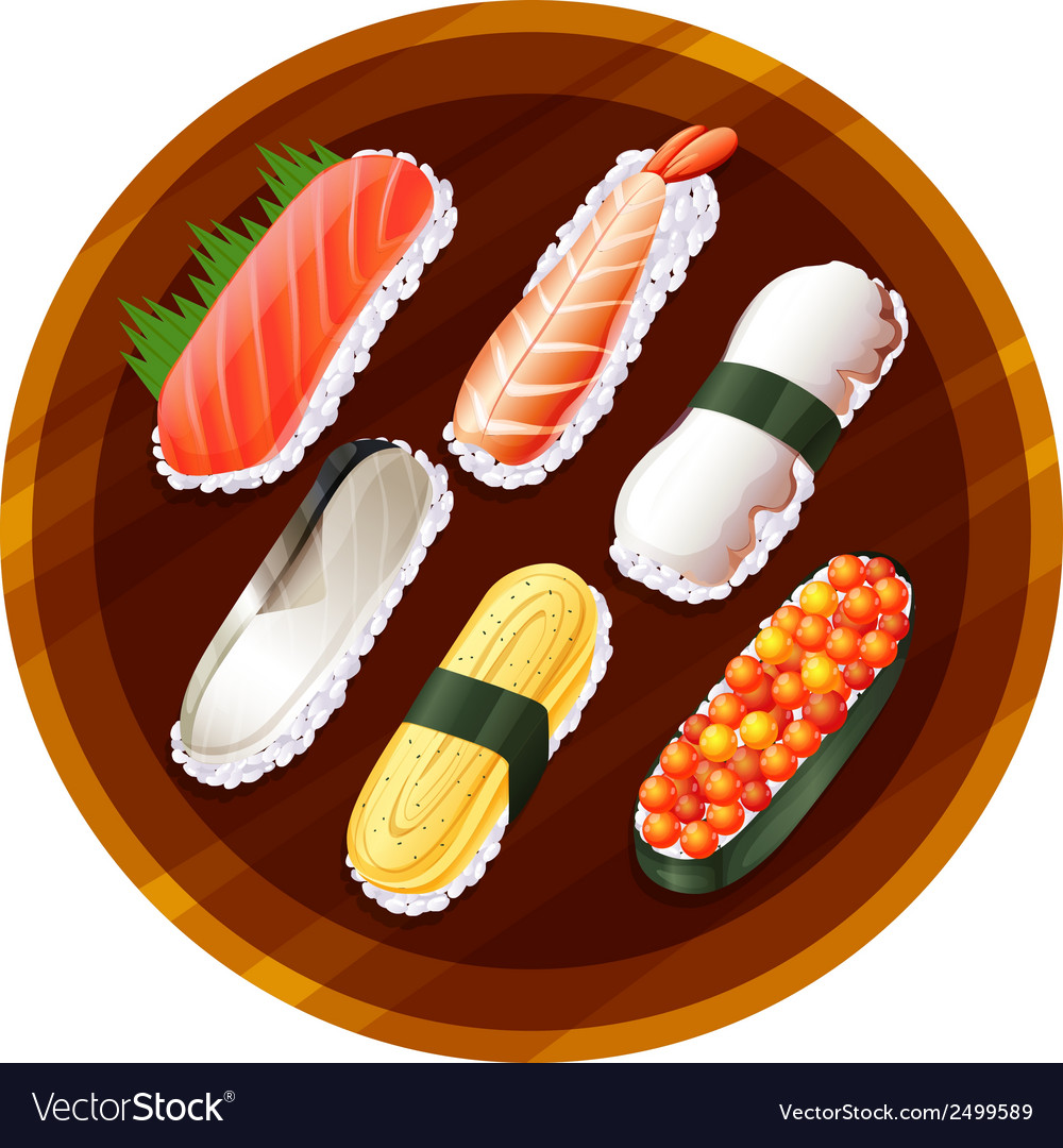 A topview of the different flavors of sushi vector | Price: 1 Credit (USD $1)
