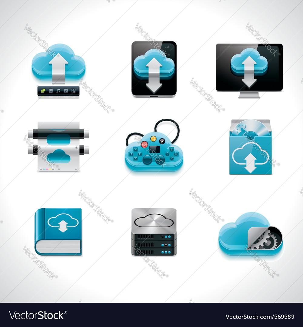 Cloud computing icon set vector   Price: 1 Credit (USD $1)
