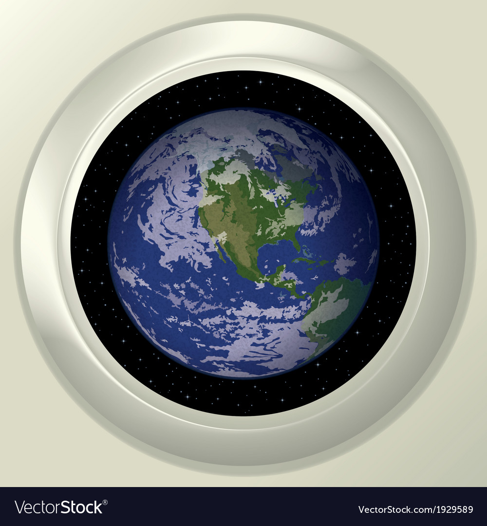 Earth and space in window vector | Price: 1 Credit (USD $1)