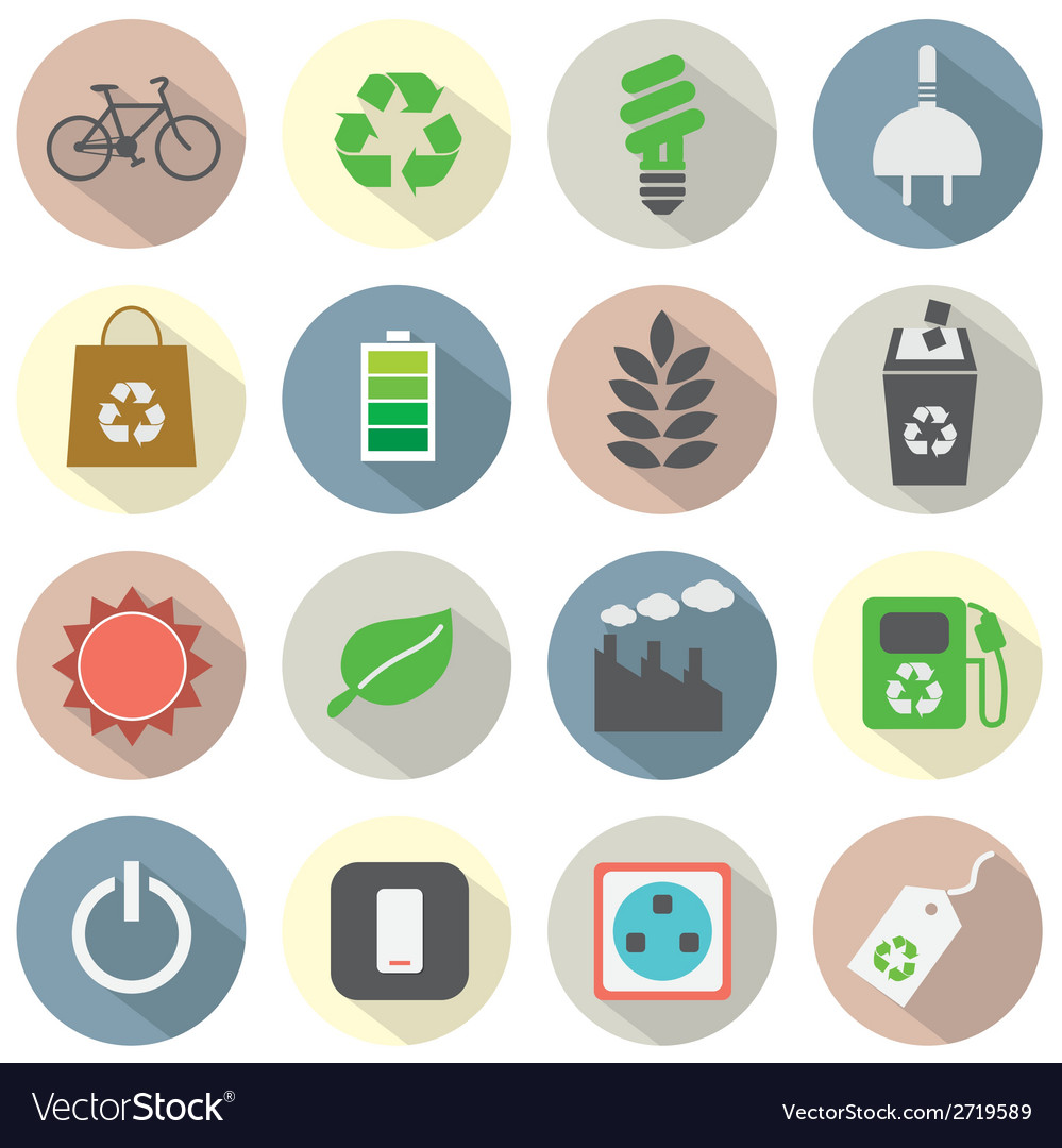 Flat design green concept icons vector | Price: 1 Credit (USD $1)