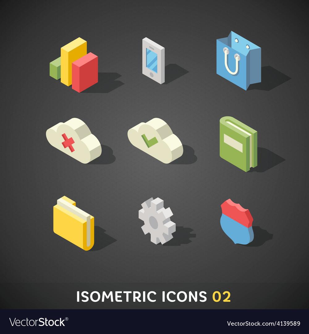 Flat isometric icons set 2 vector | Price: 3 Credit (USD $3)