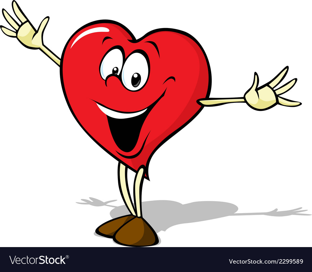 Funny heart cartoon standing with open arms vector | Price: 1 Credit (USD $1)