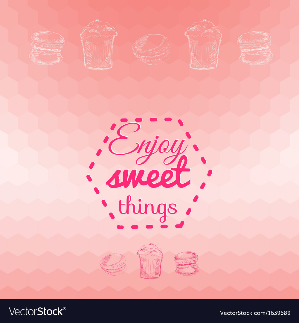 Macarons sweets background card vector