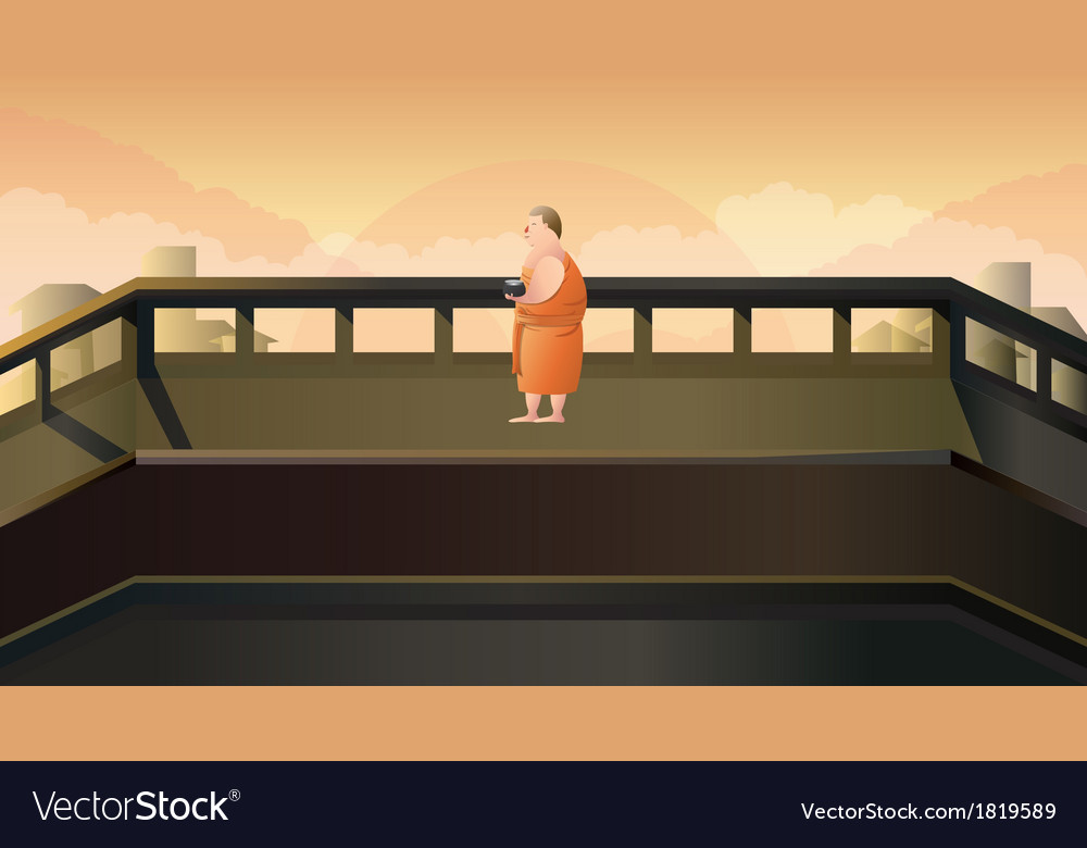 Monk to receive food in morning vector | Price: 1 Credit (USD $1)
