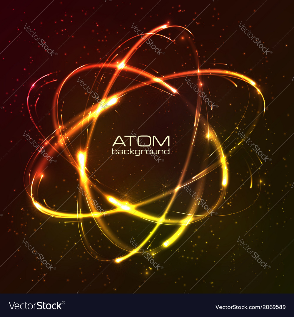 Shining neon lights atom model vector | Price: 1 Credit (USD $1)