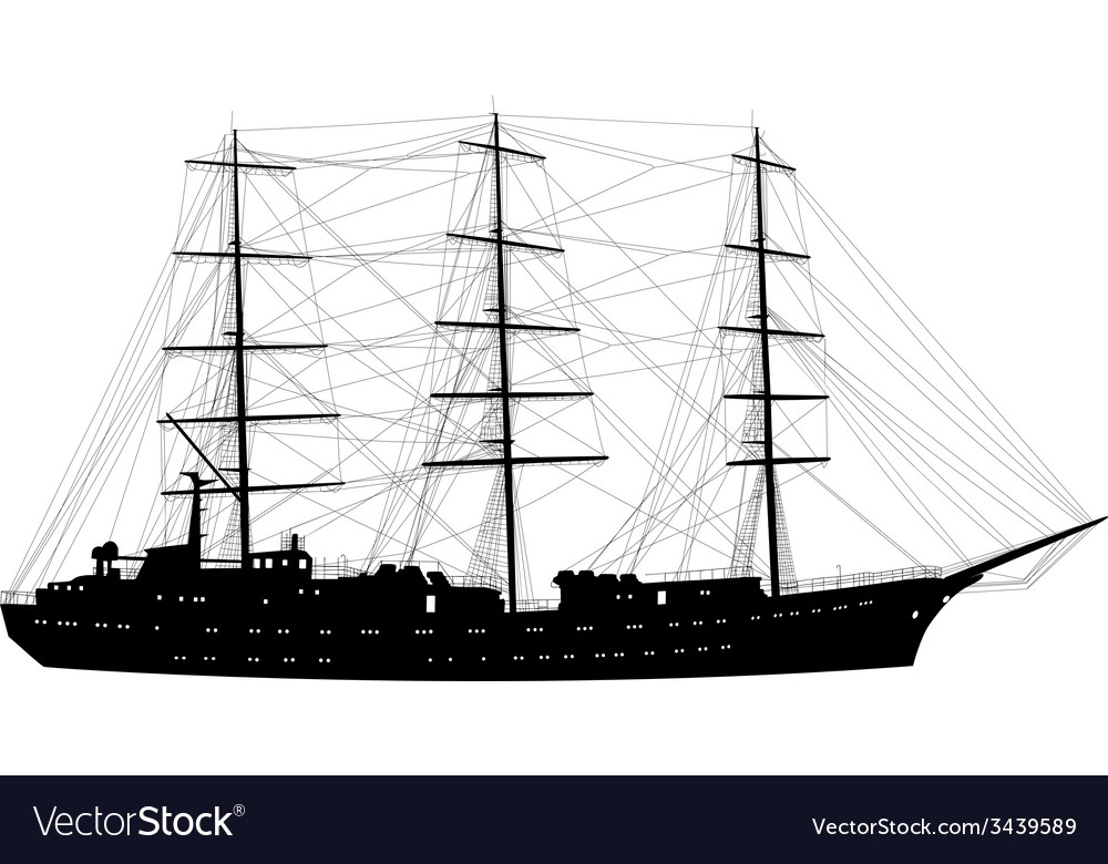 Ship sailing boat silhouette isolated on white vector | Price: 1 Credit (USD $1)