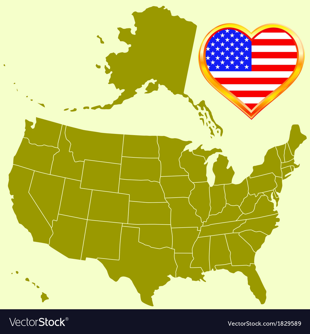 Usa map and heart vector | Price: 1 Credit (USD $1)