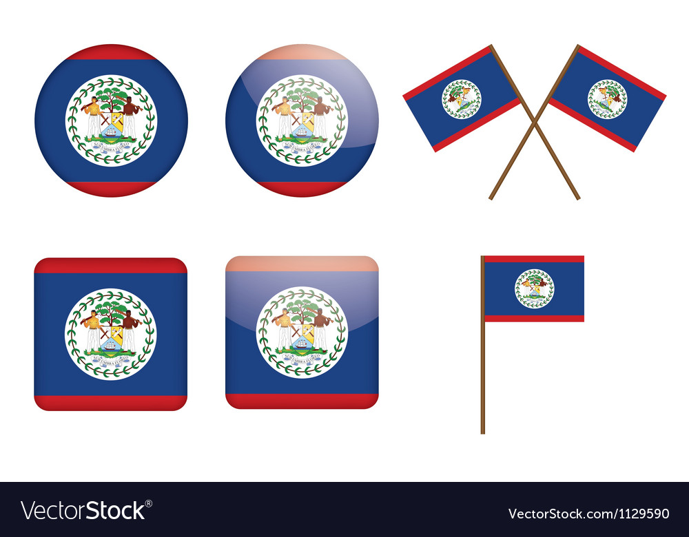 Belize flag badges vector | Price: 1 Credit (USD $1)