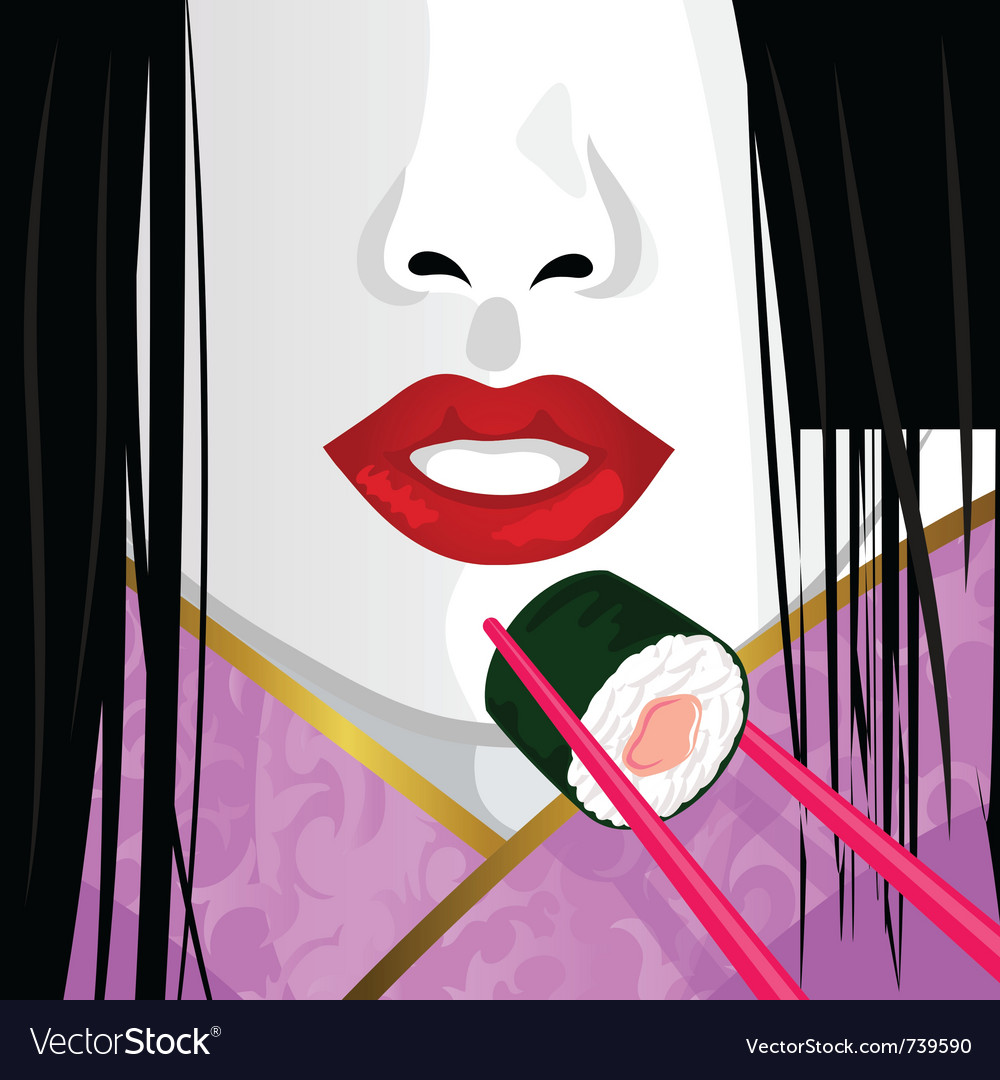 Geisha eating sushi vector | Price: 3 Credit (USD $3)