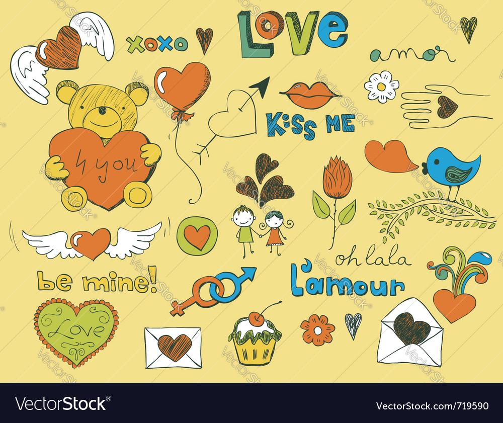 Love doodles vector | Price: 1 Credit (USD $1)