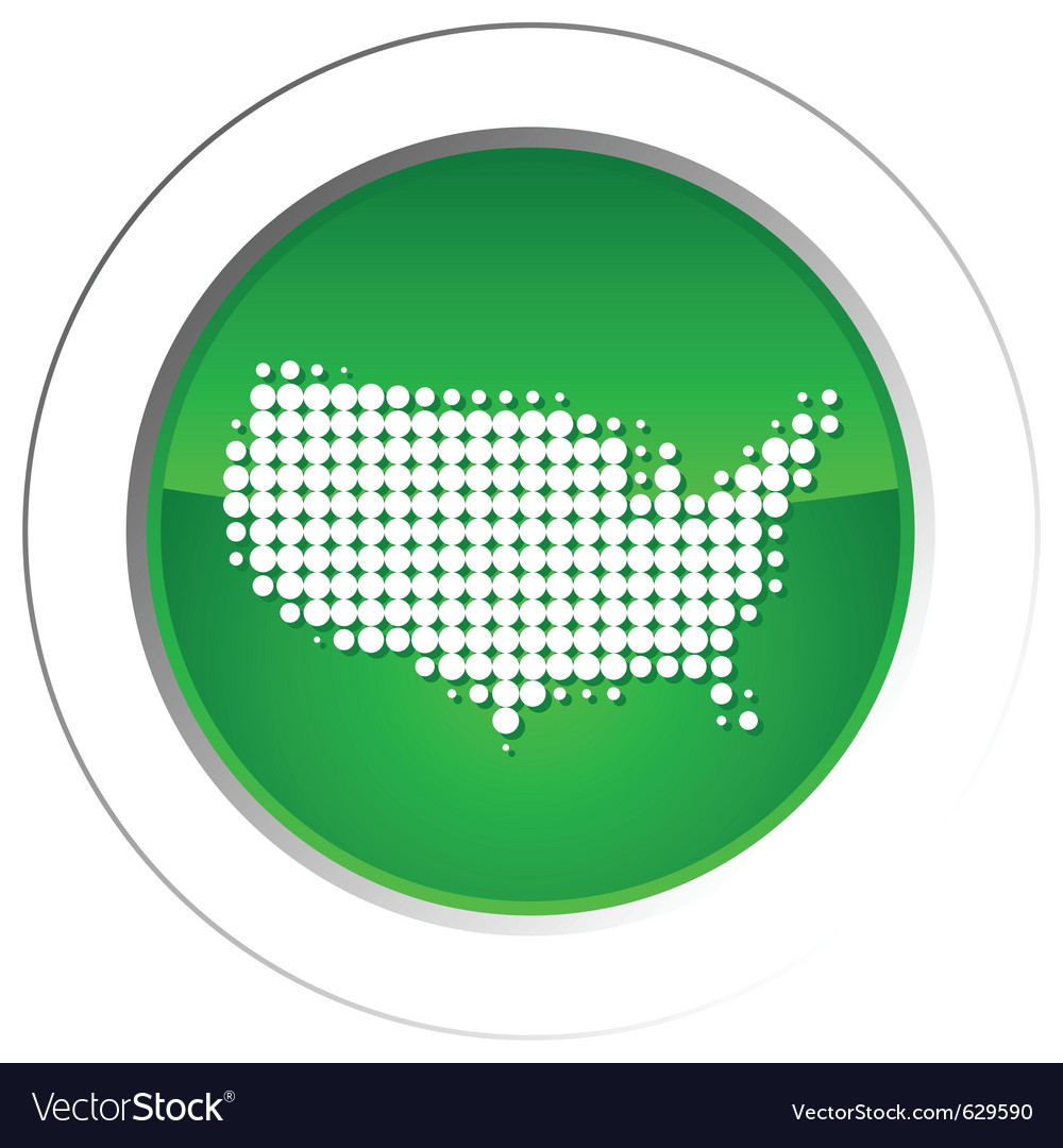 Map of usa button vector | Price: 1 Credit (USD $1)