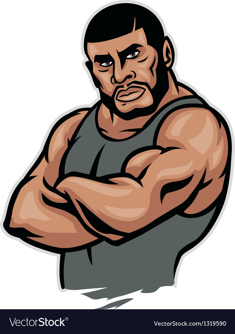 Muscular fighter crossed arm vector | Price: 1 Credit (USD $1)